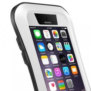 Экстразащитный удароабсорбирующий чехол авиационный алюминий/поликарбонат/закаленное стекло/силиконовый полимер с эргономичным профилем для Iphone 6 Plus Белый