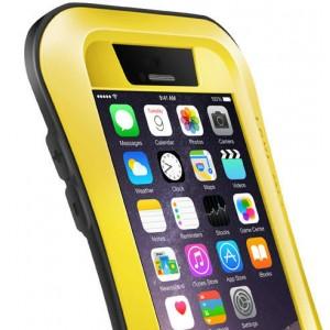 Экстразащитный удароабсорбирующий чехол авиационный алюминий/поликарбонат/закаленное стекло/силиконовый полимер с эргономичным профилем для Iphone 6 Желтый