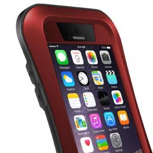 Экстразащитный удароабсорбирующий чехол авиационный алюминий/поликарбонат/закаленное стекло/силиконовый полимер с эргономичным профилем для Iphone 6 Красный