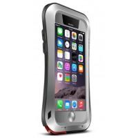 Экстразащитный удароабсорбирующий чехол авиационный алюминий/поликарбонат/закаленное стекло/силиконовый полимер с эргономичным профилем для Iphone 6 Серый