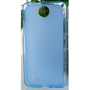 Силиконовый матовый полупрозрачный чехол для HTC Desire 300 Голубой