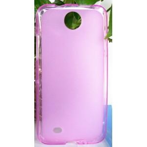 Силиконовый матовый полупрозрачный чехол для HTC Desire 300 Розовый