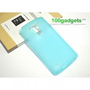 Силиконовый матовый полупрозрачный чехол для LG G3 (Dual-LTE) Голубой