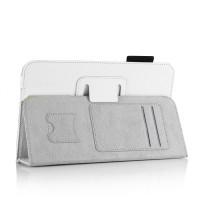 Чехол подставка с внутренними карманами и держателем кисти серия Full Cover для Samsung Galaxy Tab 4 8.0 Белый