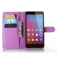 Чехол портмоне подставка на пластиковой основе на магнитной защелке для Huawei Honor 5X Фиолетовый