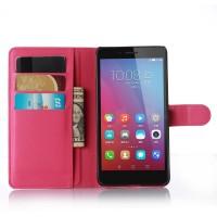 Чехол портмоне подставка на пластиковой основе на магнитной защелке для Huawei Honor 5X Пурпурный