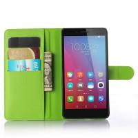 Чехол портмоне подставка на пластиковой основе на магнитной защелке для Huawei Honor 5X Зеленый