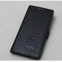Кожаный чехол горизонтальная книжка (крокодил) с крепежной застежкой для Alcatel One Touch Idol X+ Черный