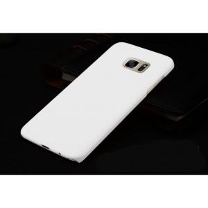 Пластиковый матовый непрозрачный чехол для Samsung Galaxy S7 Edge Белый