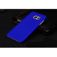 Пластиковый матовый непрозрачный чехол для Samsung Galaxy S7 Edge Синий