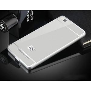 Двухкомпонентный чехол c металлическим бампером с поликарбонатной накладкой и зеркальным покрытием для Xiaomi Mi4i Серый