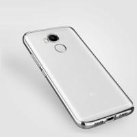 Силиконовый глянцевый полупрозрачный чехол с текстурным покрытием Металлик для Xiaomi RedMi 4 Pro Серый