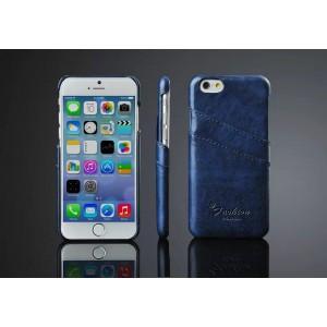 Дизайнерский кожаный чехол накладка с отделениями для карт на Iphone 6 Plus Синий