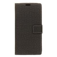 Чехол портмоне подставка текстура Клетка на силиконовой основе с отсеком для карт на магнитной защелке для HTC 10 evo Черный