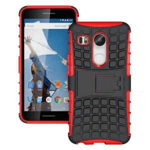 Антиударный силиконовый чехол экстрим защита с подставкой для Google LG Nexus 5X Красный