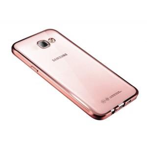 Силиконовый матовый полупрозрачный чехол с текстурным покрытием Металлик для Samsung Galaxy A3 (2017)