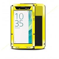 Эксклюзивный многомодульный ультрапротекторный пылевлагозащищенный ударостойкий нескользящий чехол алюминиево-цинковый сплав/силиконовый полимер с закаленным защитным стеклом для Sony Xperia XA Ultra Желтый
