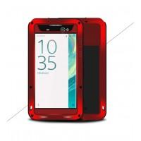 Эксклюзивный многомодульный ультрапротекторный пылевлагозащищенный ударостойкий нескользящий чехол алюминиево-цинковый сплав/силиконовый полимер с закаленным защитным стеклом для Sony Xperia XA Ultra Красный