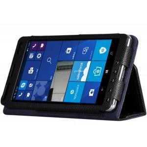 Кожаный чехол горизонтальная книжка подставка (нат. кожа) с рамочной защитой экрана и поддержкой кисти для HP Elite X3