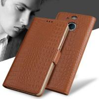 Кожаный чехол портмоне подставка (премиум нат. кожа крокодила) с крепежной застежкой для HTC 10 evo