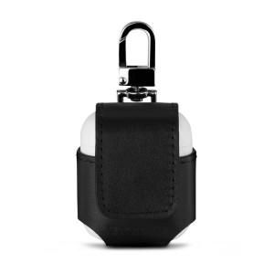 Кожаный чехол кобура (нат. кожа) на кнопке для AirPods Черный