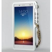 Металлический бампер с крепежным карабином для Xiaomi Mi4 Белый