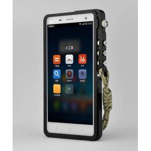 Металлический бампер с крепежным карабином для Xiaomi Mi4 Черный