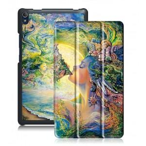 Сегментарный чехол книжка подставка на непрозрачной поликарбонатной основе с полноповерхностным принтом для Lenovo Tab 3 8 Plus