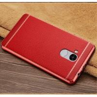 Силиконовый матовый непрозрачный чехол с текстурным покрытием Кожа для Xiaomi RedMi 4 Pro Красный