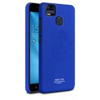 Пластиковый непрозрачный матовый нескользящий премиум чехол с повышенной шероховатостью для Asus ZenFone 3 Zoom Синий