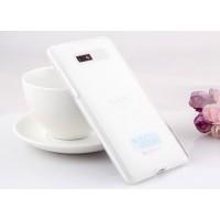 Силиконовый матовый полупрозрачный чехол для HTC Desire 600 Белый