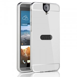 Двухкомпонентный чехол с металлическим бампером и поликарбонатной накладкой с отверстием для лого для HTC One E9+ Серый