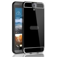 Двухкомпонентный чехол с металлическим бампером и поликарбонатной накладкой с отверстием для лого для HTC One E9+ Черный