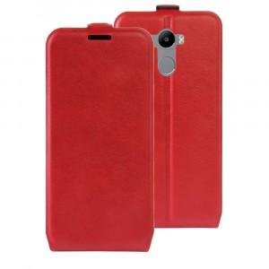 Чехол вертикальная книжка на силиконовой основе с отсеком для карт на магнитной защелке для Xiaomi RedMi 4/4 Pro Красный