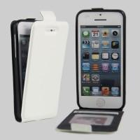 Чехол вертикальная книжка на силиконовой основе с отсеком для карт на магнитной защелке для Iphone 5/5s/SE Белый