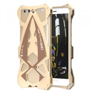 Цельнометаллический противоударный чехол из авиационного алюминия на винтах с мягкой внутренней защитной прослойкой для гаджета с прямым доступом к разъемам для Huawei P10