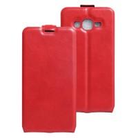 Чехол вертикальная книжка на силиконовой основе с отсеком для карт на магнитной защелке для Samsung Galaxy J2 Prime Красный