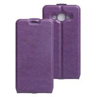 Чехол вертикальная книжка на силиконовой основе с отсеком для карт на магнитной защелке для Samsung Galaxy J2 Prime Фиолетовый