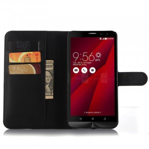 Чехол портмоне подставка с магнитной застежкой и отсеком для карт для Asus Zenfone 2 Черный
