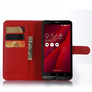 Чехол портмоне подставка с магнитной застежкой и отсеком для карт для Asus Zenfone 2 Красный