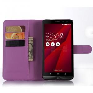 Чехол портмоне подставка с магнитной застежкой и отсеком для карт для Asus Zenfone 2 Фиолетовый