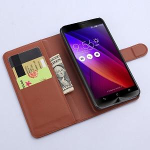 Чехол портмоне подставка с магнитной застежкой и отсеком для карт для Asus Zenfone 2 Коричневый