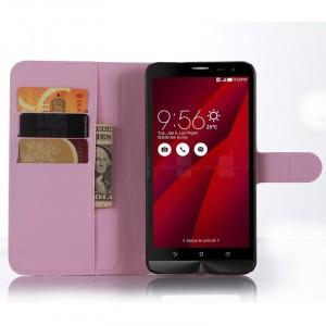 Чехол портмоне подставка с магнитной застежкой и отсеком для карт для Asus Zenfone 2 Розовый
