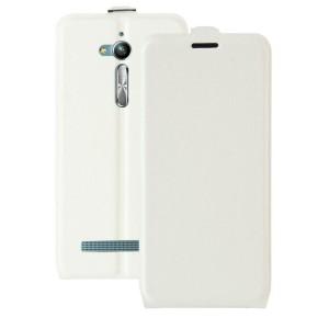 Чехол вертикальная книжка на силиконовой основе с отсеком для карт на магнитной защелке для ASUS ZenFone Go ZB500KL/ZB500KG Белый