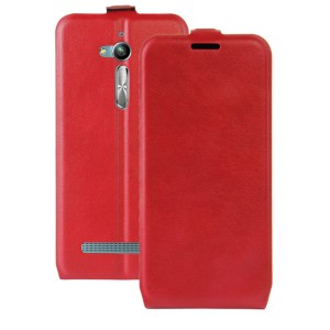 Чехол вертикальная книжка на силиконовой основе с отсеком для карт на магнитной защелке для ASUS ZenFone Go ZB500KL/ZB500KG Красный