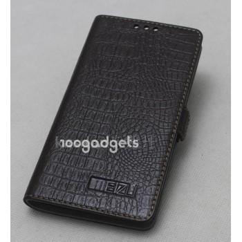 Кожаный чехол горизонтальная книжка (нат. кожа) крокодил на пластиковой основе для Meizu MX4