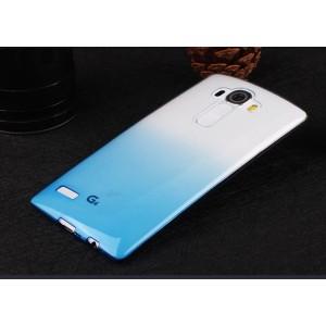 Силиконовый глянцевый полупрозрачный градиентный чехол для LG G4 Голубой