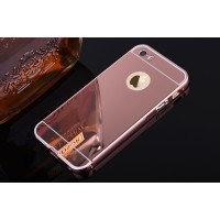 Двухкомпонентный чехол c металлическим бампером с поликарбонатной накладкой и зеркальным покрытием для Iphone 5s Розовый