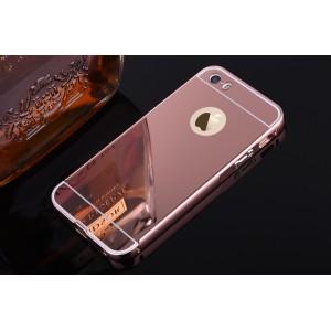 Двухкомпонентный чехол c металлическим бампером с поликарбонатной накладкой и зеркальным покрытием для Iphone 6 Plus/6s Plus Розовый