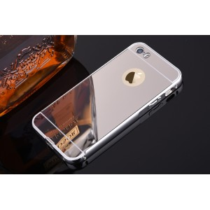 Двухкомпонентный чехол c металлическим бампером с поликарбонатной накладкой и зеркальным покрытием для Iphone 6 Plus/6s Plus Белый